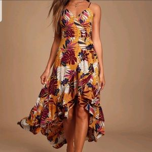 Lulus vacation days yellow tropical high low dress